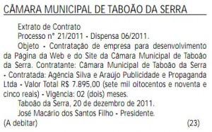 Extrato de Contrato publicado no Diário Oficial do Estado no dia 23 de dezembro de 2011.