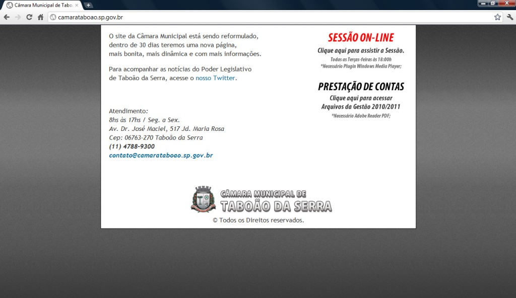 O site da câmara está fora do ar desde o dia 1º de setembro de 2011. (Foto: Reprodução / CMTS))