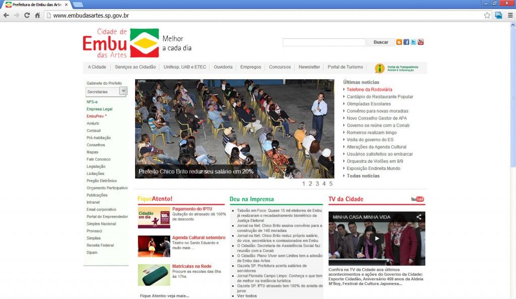Portal da Prefeitura de Embu das Artes