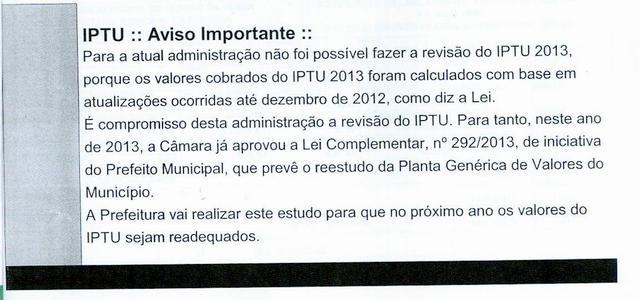 Informativo anexado nos carnês do IPTU de 2013. (Foto: Reprodução)