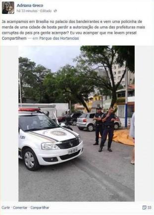 Mensagem de ativista ofende a cidade de Taboão da Serra.