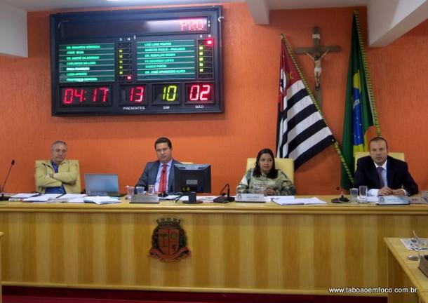 Com dois votos contrários, Câmara de Taboão aprova projeto do prefeito Fernando que estabelece abono salarial para algumas categorias de servidores.