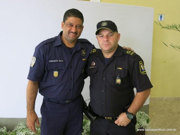 GCM Carlinhos de São Paulo e GCM Borgatto que está desde a primeira turma em Taboão da Serra.