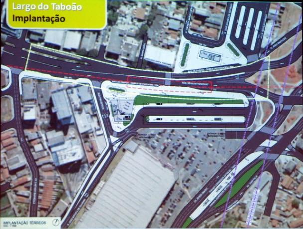 Arte da futura estação Largo do Taboão, que mais uma vez não tem data para inauguração.