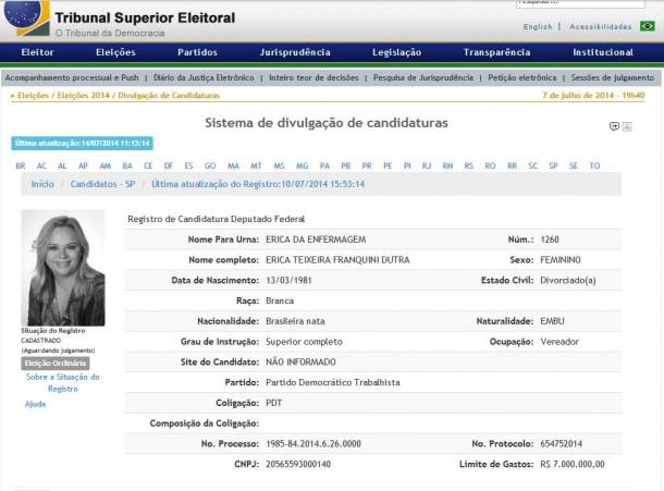 """PDT mantém Érica Franquini como candidata a deputada federal. Porém, ela anunciou que se filiou no PSDB após ter sido """"expulsa"""". (Foto: Reprodução / TSE)"""
