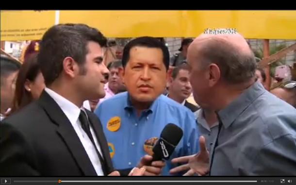 No CQC, prefeito Fernando fica com a cara do Hugo Chavéz. (Foto: Reprodução / TV Band)