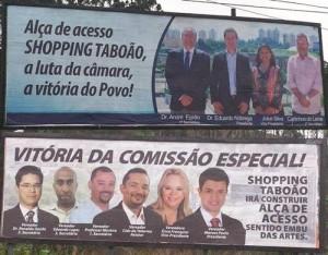 PAPEL DE BOBO: os vereadores de Taboão da Serra ficaram todos felizes com a promessa. Terminou o prazo e agora recebem críticas pelos outdoors que espalharam na cidade.  (Foto: Jornal Na Net)