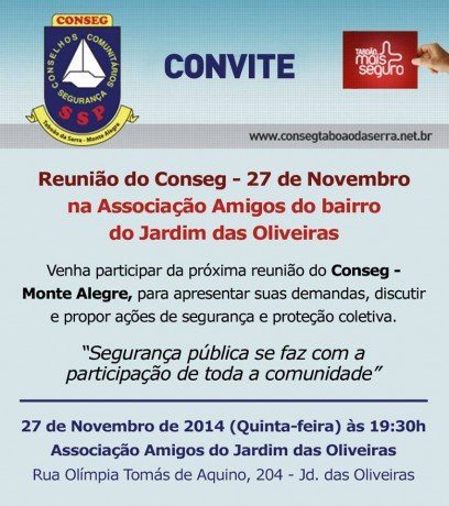 convite do Conseg Monte Alegre