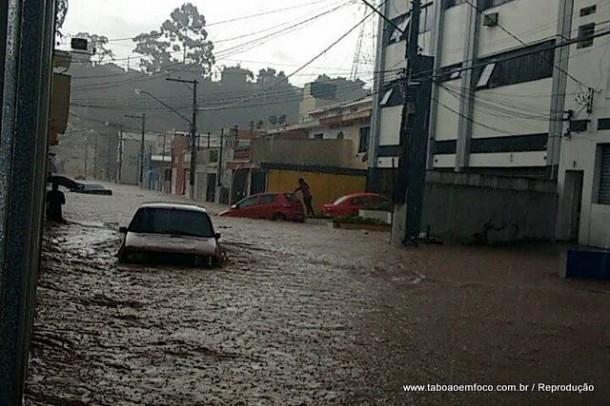 Carro debaixo d'água na Rua José Soares, perto do Morro do Cristo, em Taboão da Serra.
