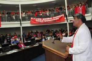 Líder do MST Taboão da Serra, Paulo Félix enaltece as alterações do Plano Diretor. (Foto: Cynthia Gonçalves / CMTS)