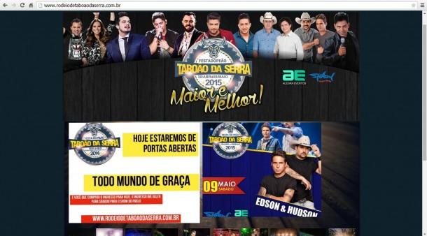 """Com logo do ano passado, site oficial não anuncia cancelamento de show, mas """"libera geral"""" a entrada no Rodeio de Taboão da Serra."""
