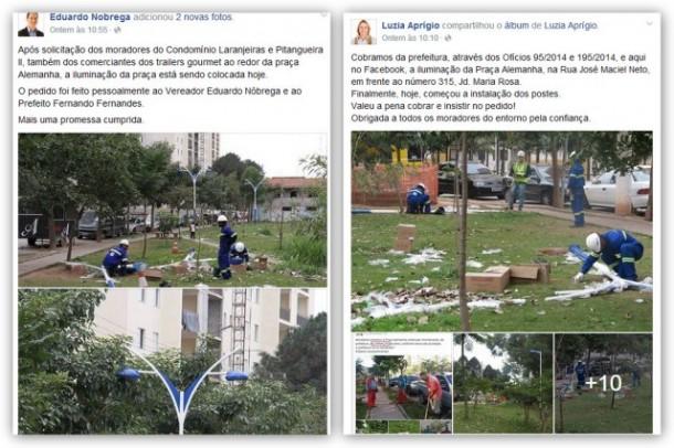 Nas redes sociais, dois vereadores reivindicam autoria do pedido de reforma de praça. (Foto: Reprodução)