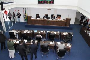 Vereadores de Taboão da Serra durante sessão legislativa (Foto: Cynthia Gonçalves / CMTS)