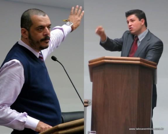 Vereadores Marco Porta e Marcos Paulo têm opiniões divergentes a respeito das leis autorizativas apresentadas pelos vereadores na Câmara Municipal. (Foto: Arquivo)