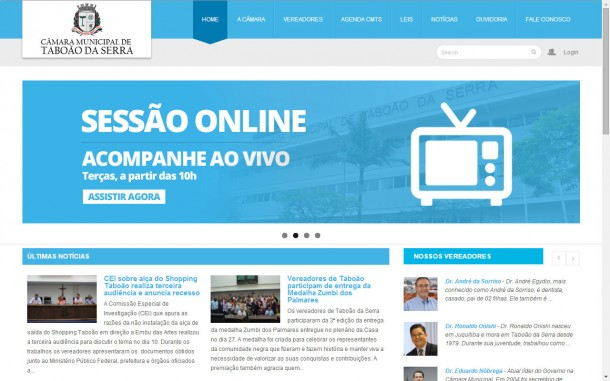 Site da Câmara de Taboão da Serra custou quase R$ 23 mil.