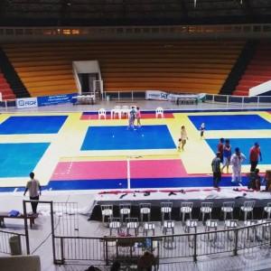 Ginásio de esportes recebe ajustes finais para campeonato de judô. (Foto: Reprodução)