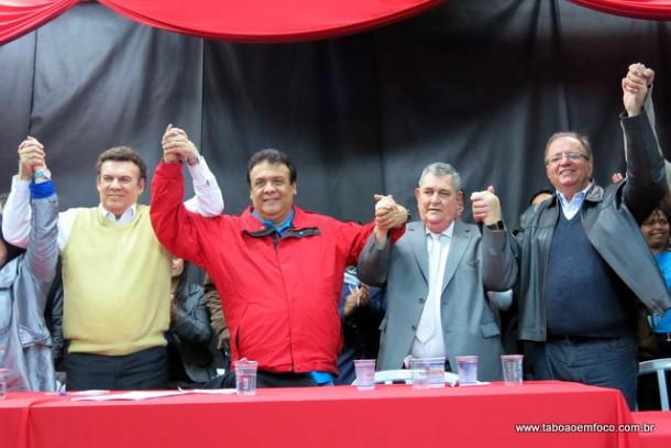 Deputado estadual Campos Machado, prefeito Fernando Fernandes, deputado federal Arnaldo Faria de Sa e o vice Laércio Lopes durante encontro do PTB em Taboão da Serra.