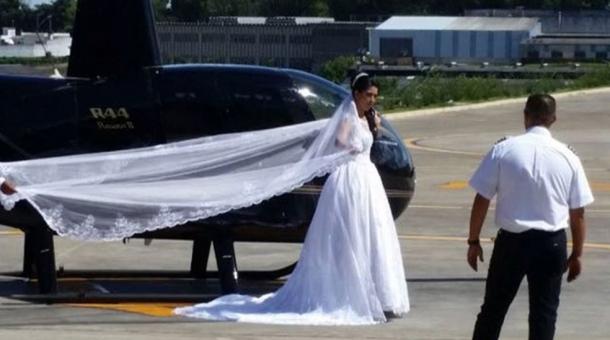 Noiva deseja fazer uma surpresa ao noivo e convidados e chegar de helicóptero, mas sofreu acidente perto do local do casamento. (Foto: Reprodução)