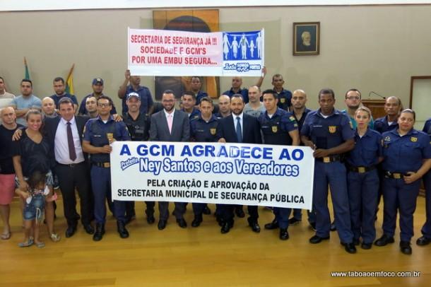 GCMs de Embu das Artes celebram criação da Secretaria de Segurança Pública.