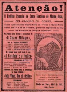 Cartaz mostra o início das encenações da Paixão de Cristo em Taboão da Serra. (Reprodução)
