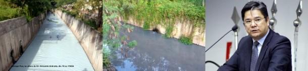 Onishi promete reunir comissão de Meio Ambiente e cobrar empresa que teria jogado dejetos, que 'acinzentou' a água do Córrego Poá. (Fotos: Taboão em Foco e Thiago Walter)