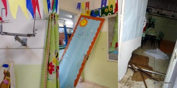 Fotos da EMI Pica-Pau Amarelo após o furto.
