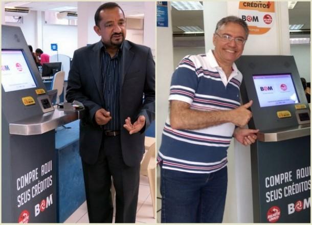 Vereadores Cido e Egydio visitam o Atende, novo posto de recarga do Cartão Bom. (Fotos: Reprodução)