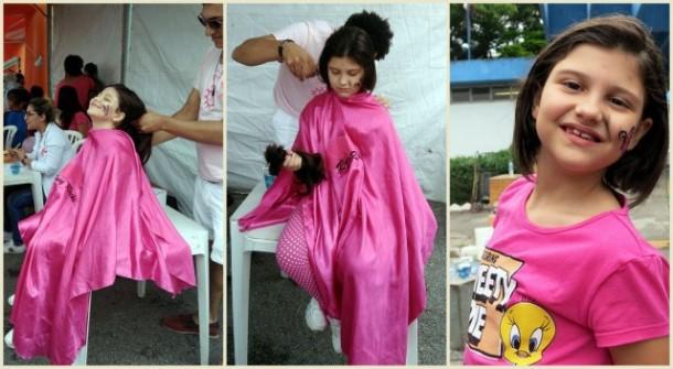 Com apenas 7 anos, Lara decidiu doar os seus cabelos para doação ao projeto Mechas de Amor.