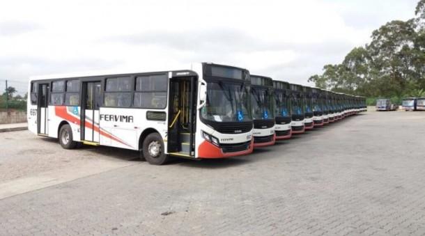 Novos ônibus que devem entrar em circulação em breve em Taboão da Serra. (Foto: Reprodução)