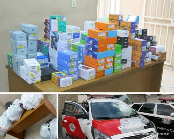 Produtos que já estavam prontos para serem levados por bandidos quando a PM chegou no local.