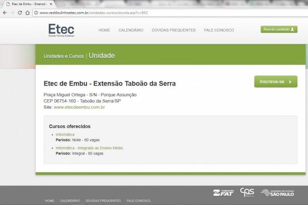 Curso técnico em Taboão da Serra começa como extensão da ETEC de Embu das Artes. (Foto: Reprodução)