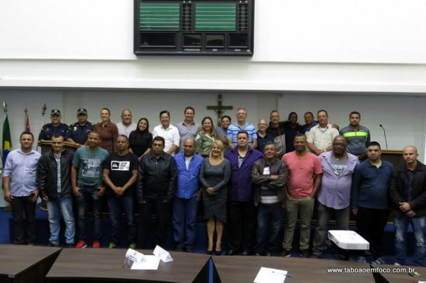 Guardas Municipais, vereadores e secretários após audiência pública de segurança para discutir o novo Plano de Carreiras da GCM, que deve ser votado ainda esse ano.