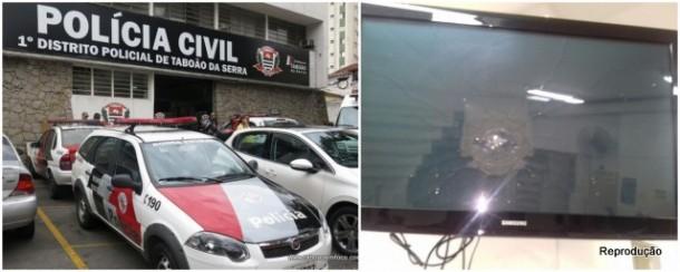 Homem quebrou televisão que fica na recepção do 1º DP de Taboão da Serra.