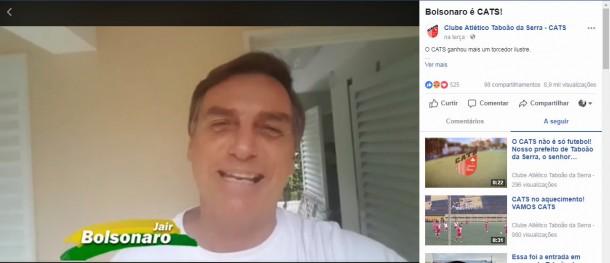 Bolsonaro manda video para o Cats