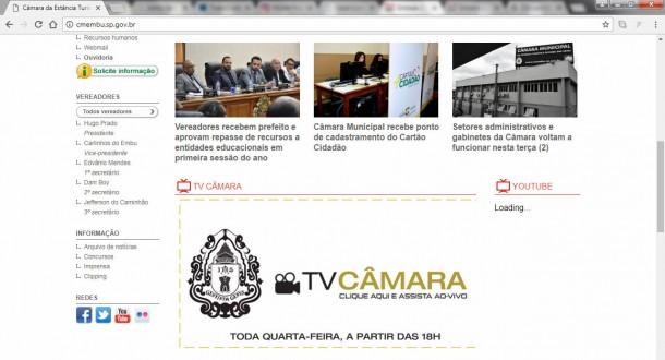 Site oficial da Câmara de Embu das Artes com horário errado. (Foto: Reprodução)