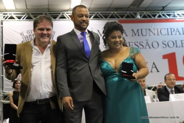 Professor Moreira e os homenageados Joao Aguiar Ribeiro e Silvanidia Pereira Sampaio