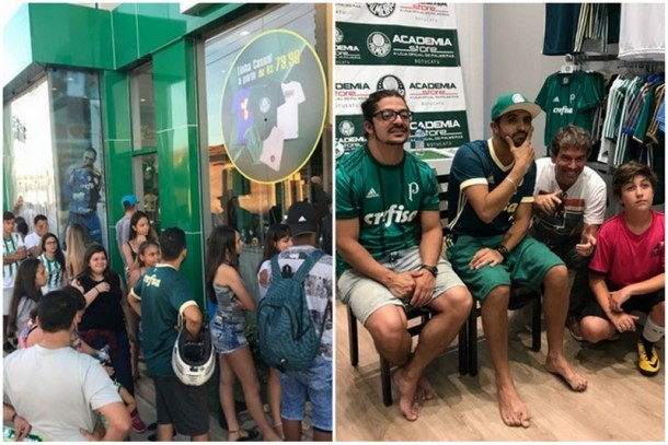 Palmeirenses enfrentam fila para tirar fotos e pegar autógrafo do humorista de Taboão da Serra, Thiago Ventura. (Fotos: Divulgação)