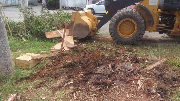 Trator destruiu horta comunitário no Saint Moritz, a pretexto de limpar a praça. (Foto: Reprodução / Baeta)