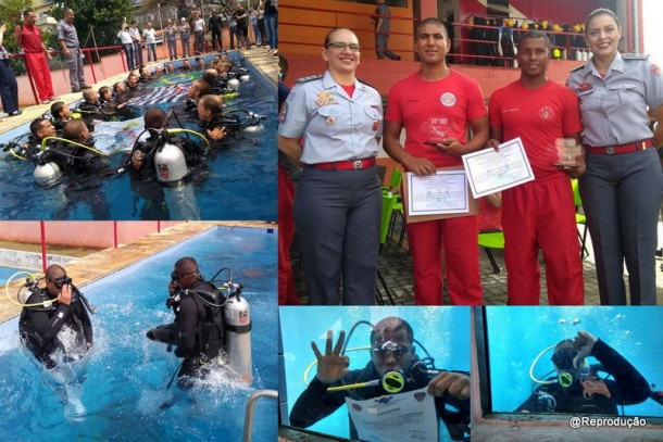 Bombeiros Municipais de Taboão da Serra se formam em mergulho. (Foto: Reprodução)