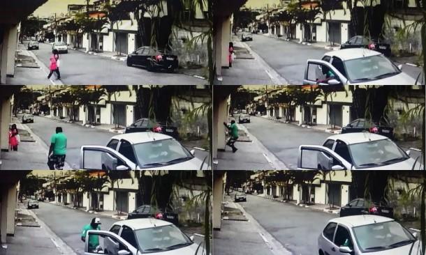 Mulher escapou 'por pouco' de assalto no Intercap, em Taboão da Serra. (Foto: Reprodução Vídeo)