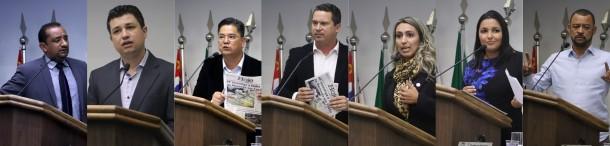 Governistas saem em defesa do prefeito Fernando Fernandes. Apenas Moreira (último à direita) manteve postura mais crítica.