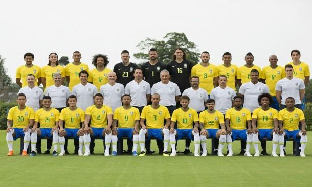 Jogadores e comissão técnica da seleção brasileira, que disputa a Copa da Rússia e tenta conquistar o Hexa. (Foto: CBF)