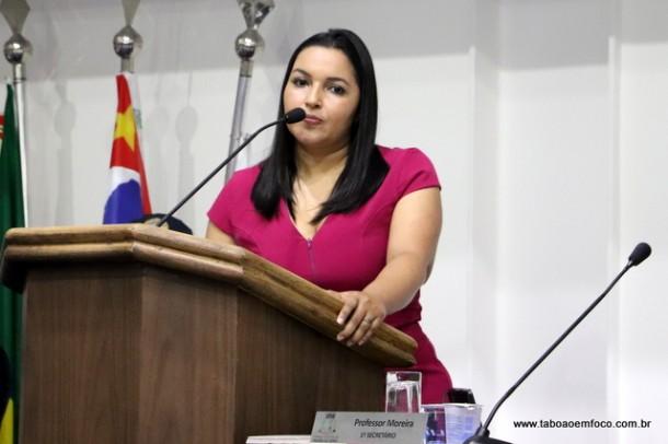 Joice Silva critica fala do prefeito licenciado Ney Santos durante evento em Taboão da Serra.