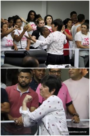 Rita da Saúde faz gesto de 'banana' a apoiadoras do Eduardo Nóbrega após discussão durante sessão.