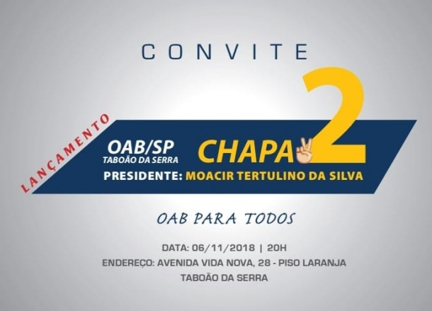 Convite Chapa 2 - OAB PARA TODOS