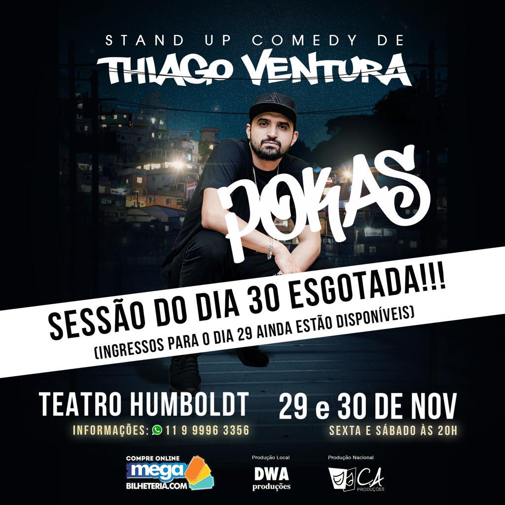 """Thiago Ventura apresenta show de stand up """"Pokas"""" no teatro Humboldt nesta sexta e sábado"""